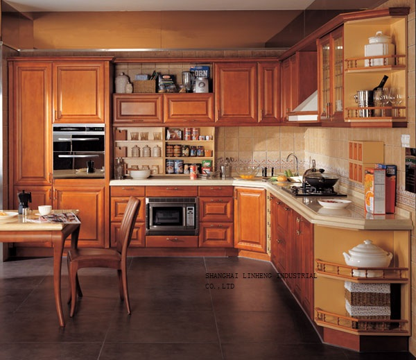 chinese solid wood kitchen cabinet(LH-SW043) classic oak wood kitchen cabinet lh sw027
