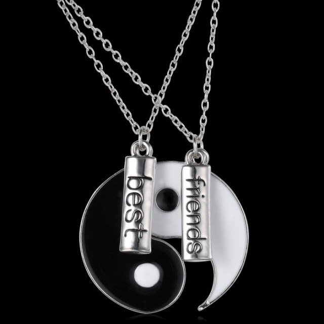 Couple jewelry personalized yin yang necklace broken necklace best couple jewelry personalized yin yang necklace broken necklace best friend hand stamped pendant two pendants for mozeypictures Gallery