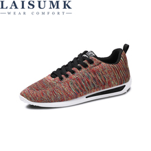 LAISUMK New Men Sneakers Air Mesh Casual Shoes Flats Light Breathable Zapatillas Hombre