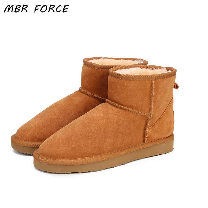 Botas de nieve para mujeres de la fuerza de Australia 100% botas de tobillo de cuero genuino de cuero de vaca botas de invierno calientes zapatos de mujer de gran tamaño 34-44