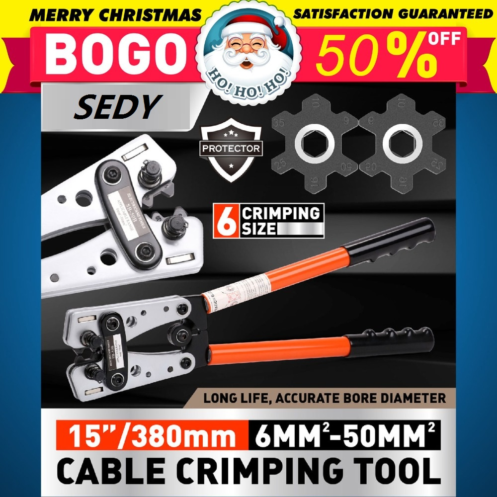 SEDY Cable Lug Crimping Tools Electrician Crimping Clamps Manual Ratchet Terminal Crimping Tools for 6 50mm2