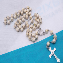8mm Religion Jerusalem Holy Land Rosary Cross Necklace Long Rose Chain Prayer, Blessing Gift