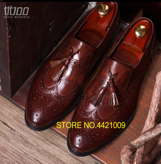 Top selling Mens Bullock carved retro fringed derby shoes genuine leather wedding dress shoes formal leather shoes men dropshipTop selling Mens Bullock carved retro fringed derby shoes genuine leather wedding dress shoes formal leather shoes men dropship