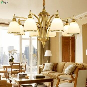 Candelabros Led de cobre Lustre europeo iluminación para comedor sombras de  vidrio Led lámpara de