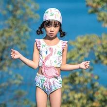 Купальный костюм для маленьких девочек; Цельный Детский купальник с цветочным принтом для девочек; детский купальник;