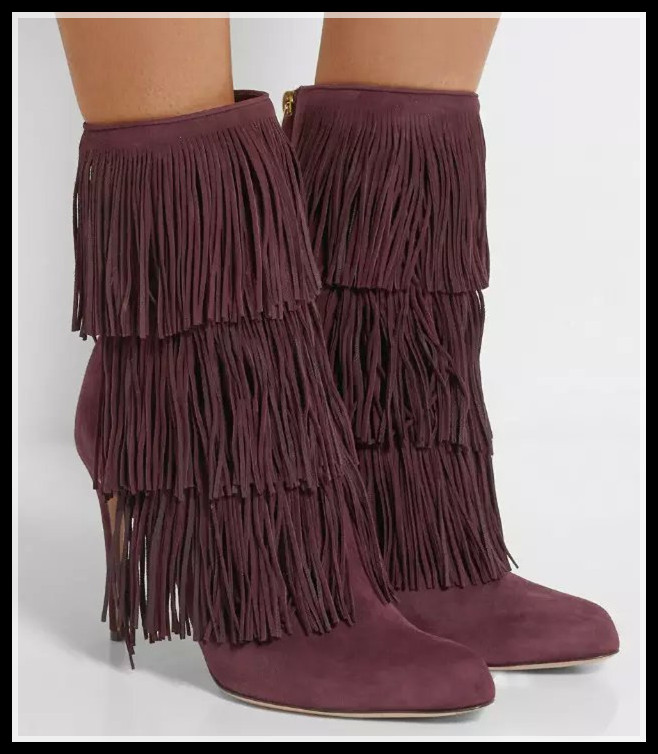 Black/ Purple 3 Tassels Suede Fringe Boots High Heels Fall Fashion ...