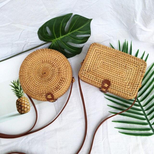 Fashion Women Summer Rattan Bags Round Square Straw Bag Handmade Woven Beach Crossbody Bags Circle Bohemia Bali Handbags 5