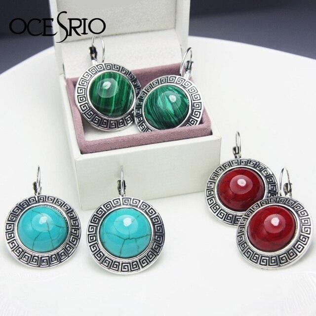 Prata Tibetano do vintage Grandes Brincos com Pedras Leverback Brincos Azul Vermelho Verde Rodada Brincos de Pedra Vestido ers-g49