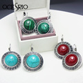 Vintage Big Stud Earrings with Stones Leverback Tibetan Silver Earrings Blue Red Green Round Turquoise Earrings Dress ers-g49