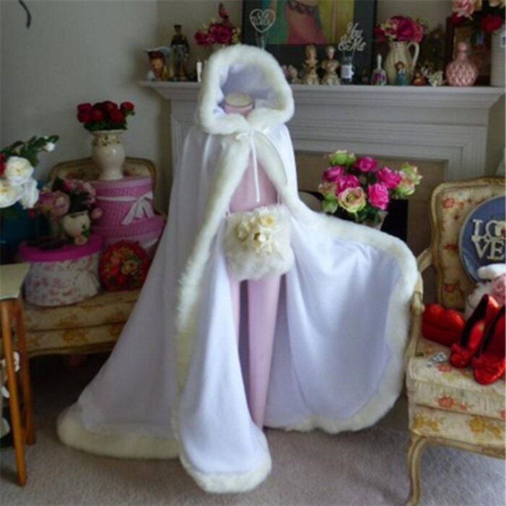 Winter Faux Fur Long Bridal Cape Cloak Hooded for Wedding Jacket Coat Shawl White Ivory Red
