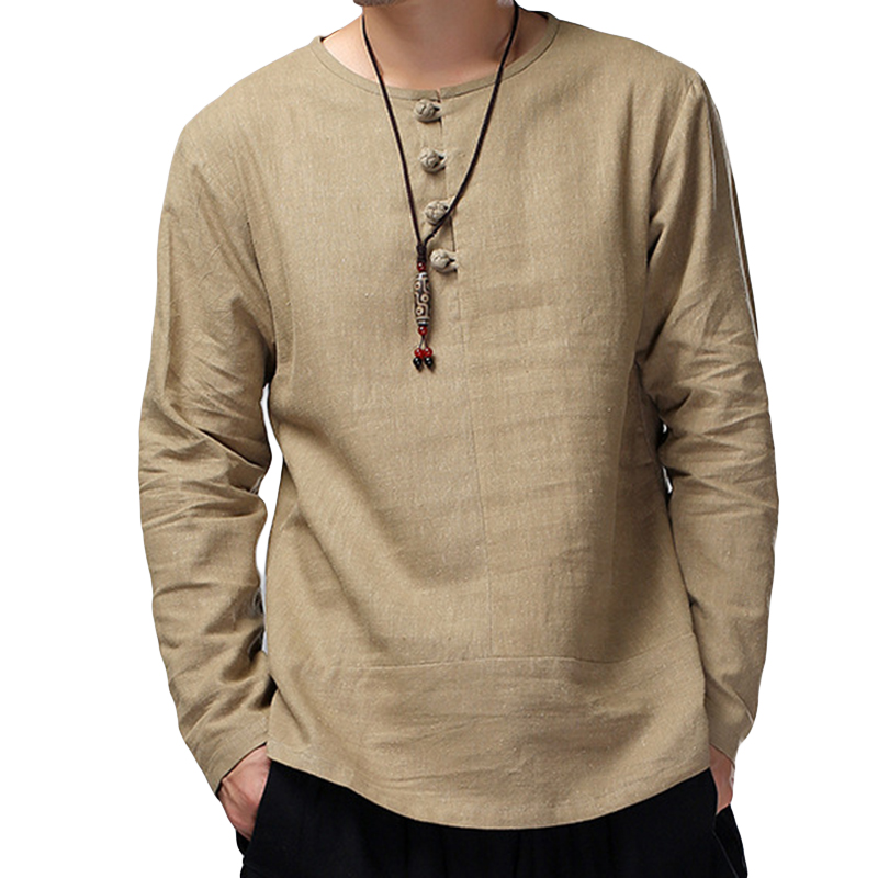 2018 New Casual Shirts Men Cotton Linen Long Sleeve Solid Color Crew-Neck High Quality White Shirt Camisa Masculina Men Clothes