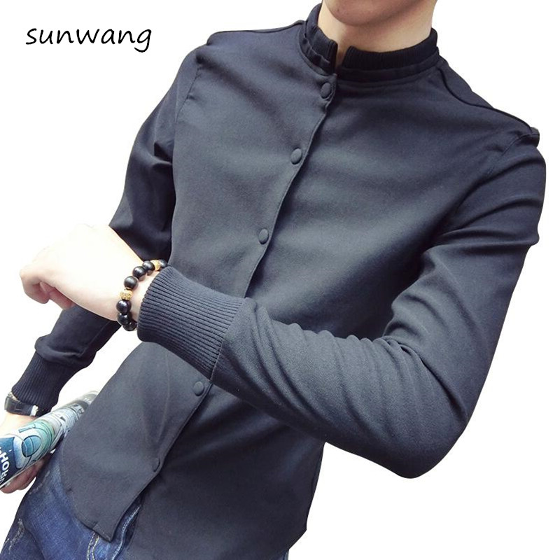 innovative design newest collection store US $29.43 8% OFF|Brand New Fashion Unique shirt designs Round neck Stand  collar Long sleeves Mens dress shirts casual Slim Fit mens clothing-in  Casual ...