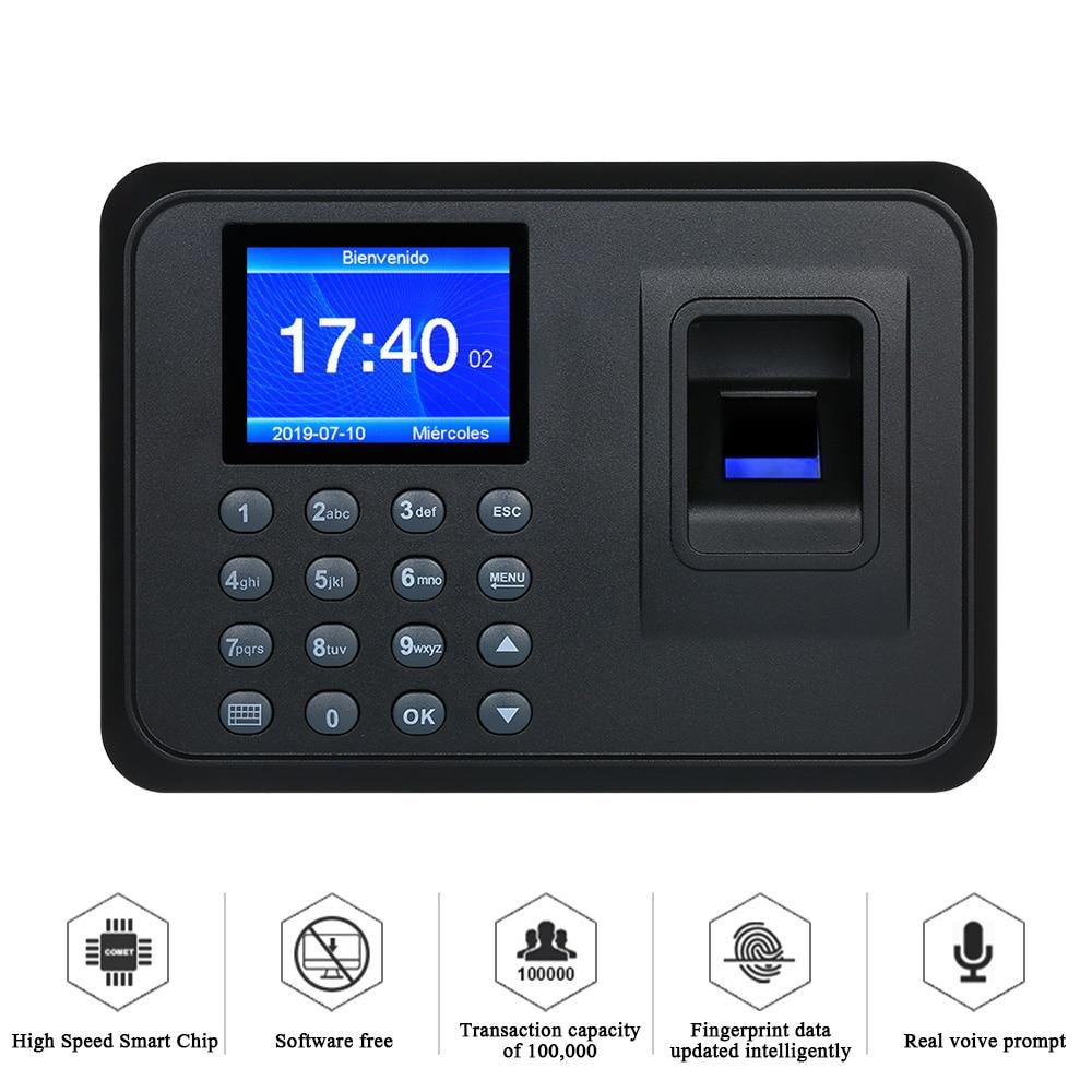 """A6 2.4/"""" TFT Fingerprint Time Attendance Clock Employee Payroll Recorder US"""
