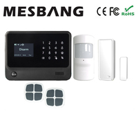 wifi gsm GPRS home alarm system black color pir sensor with switch with five language free shipping
