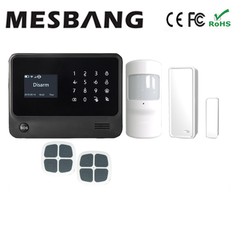 wifi gsm GPRS home alarm system  black color pir sensor with switch with five language   free shipping sim900 gsm gprs minimum system module blue black