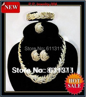 سعر المصنع رخيصة! 100% ضمان الجودة! التألق كريستال ليف شكل الذهب والمجوهرات مجموعة