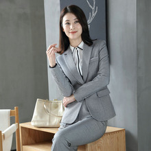 Office Uniform Designs Women Business Casual Pantsuit Two Piece Set Top and Pants Black Blue Gray Work Trouser Suit Female