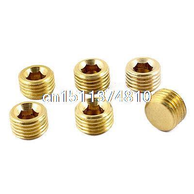 6 Pcs Air Pipe Fittings 1/4PT Male Thread Hex Socket Brass Plugs Caps 6 pcs air pipe fittings 1 4pt male thread hex socket brass plugs caps