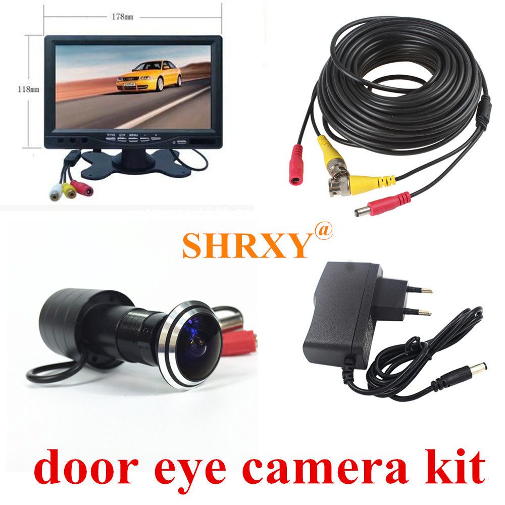 SHRXY 170 Degree Wide Angle Door Eye Camera 700TVL Bullet Mini CCTV Camera with 7 lcd