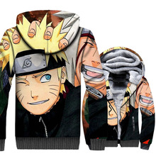 Anime Uzumaki Naruto tracksuits men zip wool liner warm jackets 2019 winer Thick swag coats funny 3D Print brand clothes homme