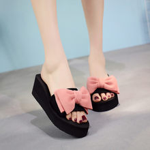 MUQGEW Hot High Heels Slippers Women Wedges Bow Thick Foundation Beach Slippers Summer Sandals Beach Shoes Flower Slippers(China)