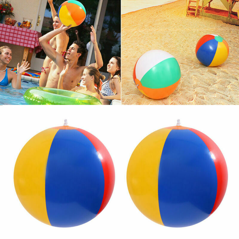 Outdoor Activitie Inflatable Beach Ball PVC Water Balloons Rainbow-Color Balls Summer Beach Swimming Toys For Adults /Kids