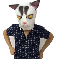 Angry White Cat Mask Full Head Animal Costume Cosplay Cat Latex Mask Cartoon Fans Gift