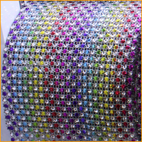 2014 Strass Crystal Free Shipping 5yard Lot 24rows Rainbow Plastic Rhinestones Mesh Trimming Sewing Wedding Dress