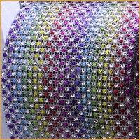 2014 Strass Crystal Free Shipping 5yard Lot 24rows Rainbow Plastic Rhinestones Mesh Trimming Sewing Wedding Dress
