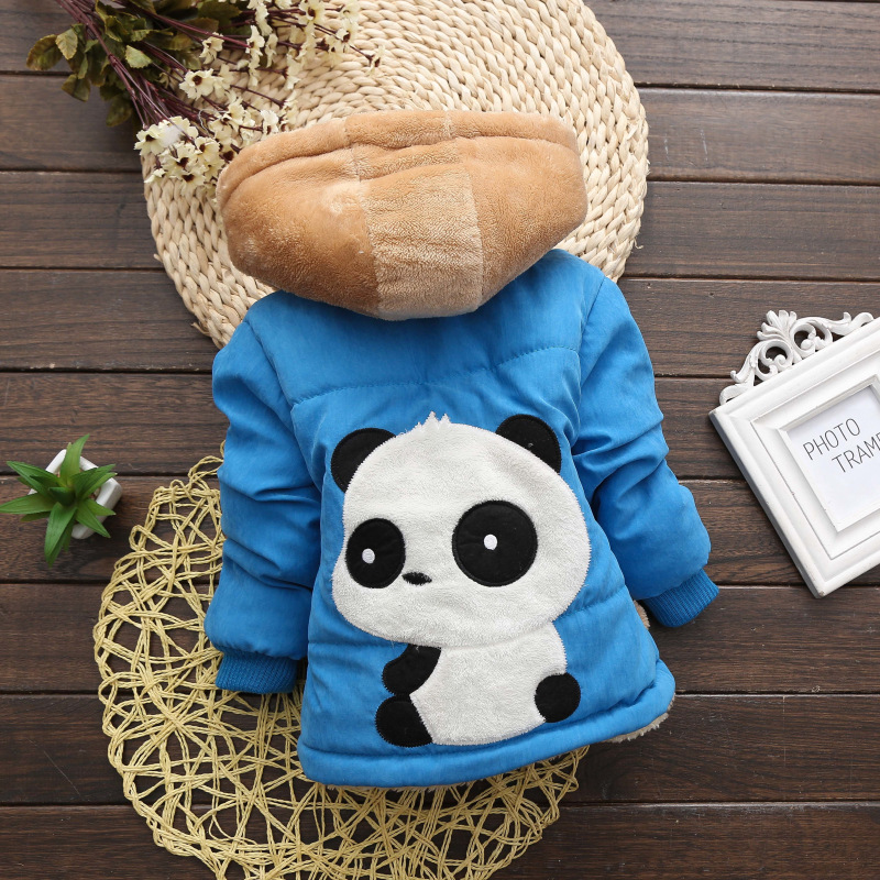 2017 Children Jackets Baby Outwear Cartoon Panda Toddler Fleece Hoodies for Boys Winter Clothes Cute Kids Warm Coat 2016 winter boys wadded jacket kids hooded spider printed thick fleece red blue coat toddler warm outwear children clothes 2 4t