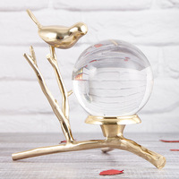 Pure Copper Tripod Bird Resin Crystal Bronze Statue Light Luxury Feng Shui Ornaments Soft Crafts Crystal Ball Sculpture