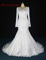 Royeememo Real Picture 2017 New Lace Long Sleeve V Neck Wedding Dress Hot Sale Bridal Dress