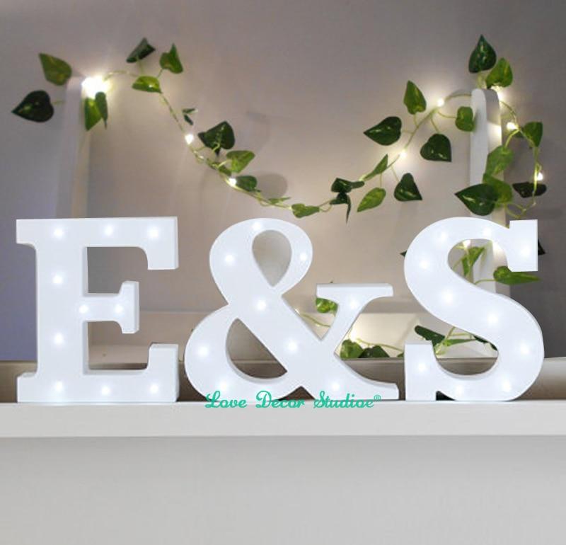 Aliexpresscom buy freestanding initials led white light for Stick on letters for glass