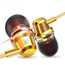 Bedrade Oortelefoon 3.5 Mm Extra Bass Rechte Lijn Pc Subwoofer Headset In Ear Metalen Sport Muziek Mobiele Telefoon Oortelefoon met Mic