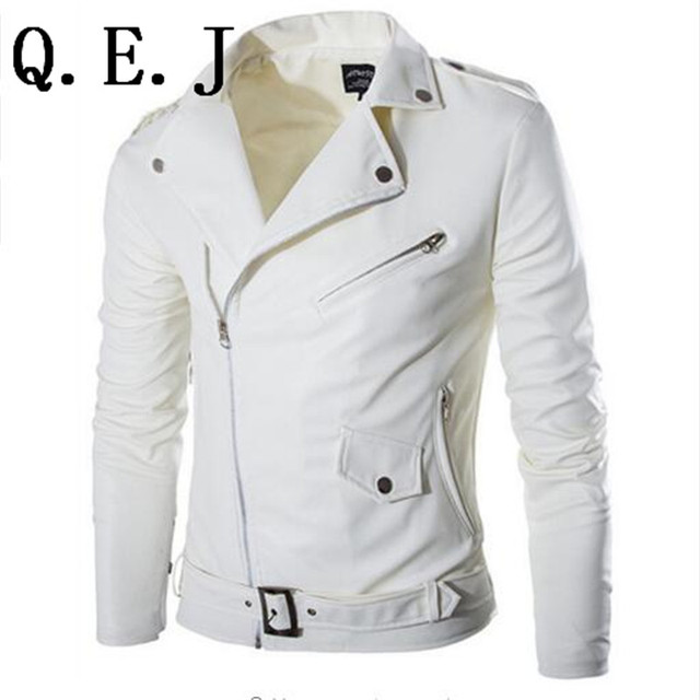 Q.E.J 2015 fashion stand collar motorcycle leather clothing men's leather jacket male outerwear White Leather & Suede M-XXL