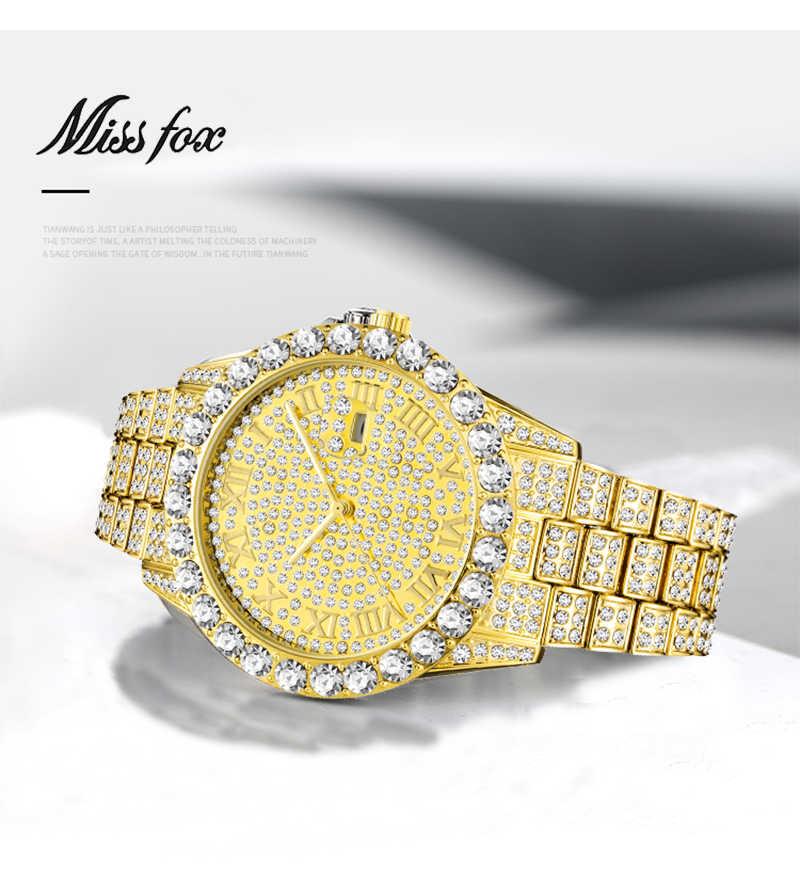 a293c512d2f2 ... MISSFOX 2019 new Fashion TOP diamond luxury men s watch diesel AAA  stainless steel waterproof Quartz watch