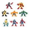 Envío ship8pcs/lot 6-7 cm avenger marvel super hero spiderman iron man capitán américa hulk thor acción figura juguetes para los niños