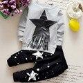 2017 Conjuntos de Roupas de Recém-nascidos meninas Meninos Outono Crianças Conjuntos de Roupas Crianças 2 pcs set roupas terno do bebê camiseta + calça conjuntos