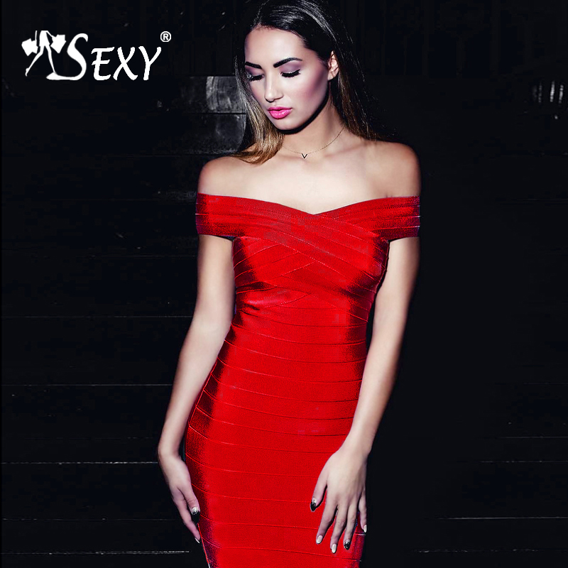Gosexy 2019 New Women Sexy Off Shoulder Elegant Slash Neck Bandage Bodycon Dress Lady Fashion Party
