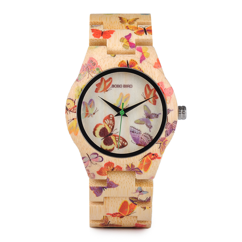 BOBO BIRD Butterfly Print Ladies All Bamboo Watch