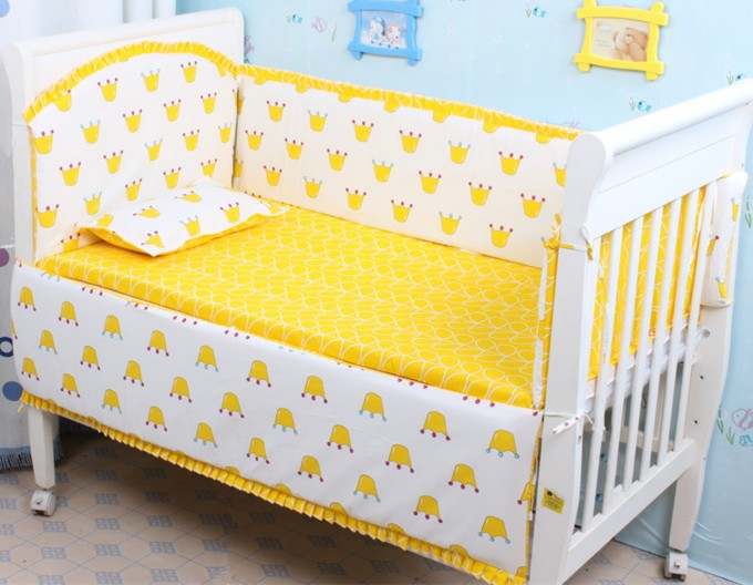 Promotion! 6PCS 100% cotton Baby crib bedding set of unpick and wash baby bedding set, include:(bumper+sheet+pillow cover)