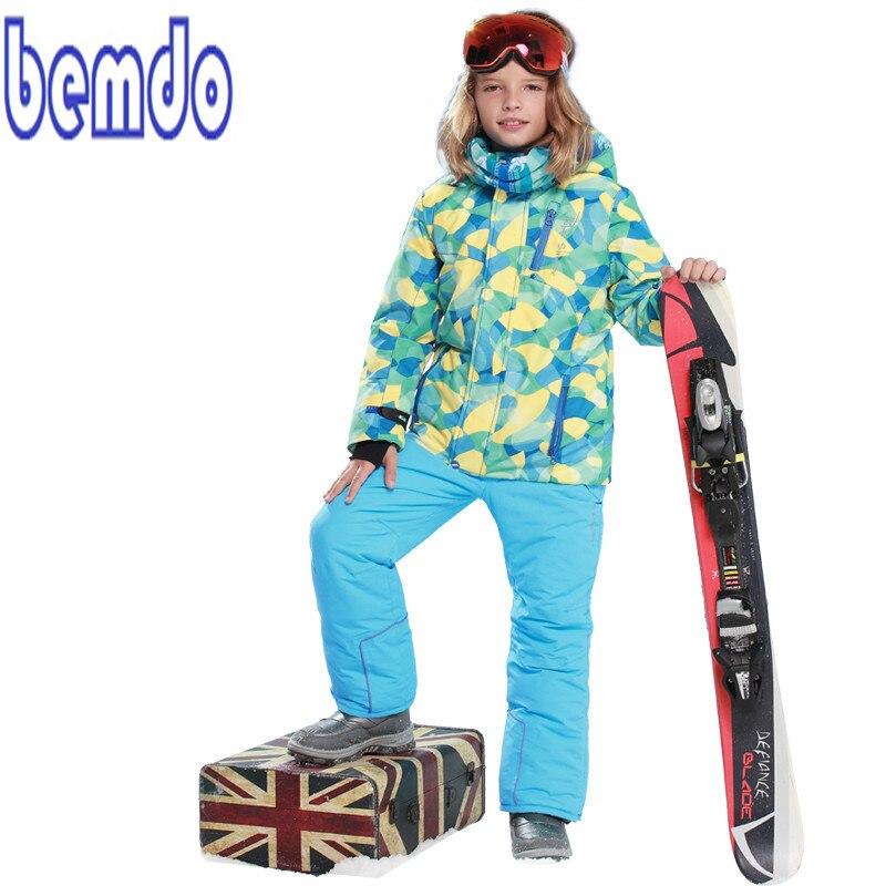 NEW 2017 BOYS Winter Waterproof Windproof Ski Sets Kids Warm Ski Jacket Children Outdoor Hooded Snowboard Sports Suits T8010 children kids boys winter windproof padded jacket hooded jacket ski jacket high quality size 116 140