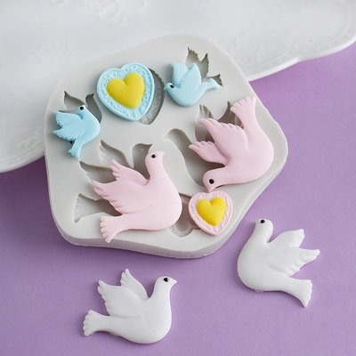 PRZY Cartoon Pigeon Moulds Love Dove Of Peace Chocolate Resin Clay Silicone Mold Sugarcraft Fondant Mould Cake Decorating Tools