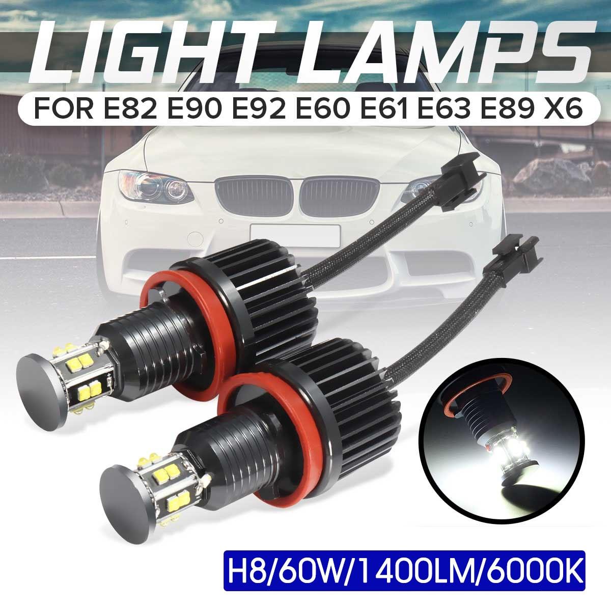 2Pcs 120W H8 LED Angel Eye Halo Ring Light Bulb Xenon White 6000K Headlight For BMW E82 E90 E92 E60 E61 E63 E89 X6