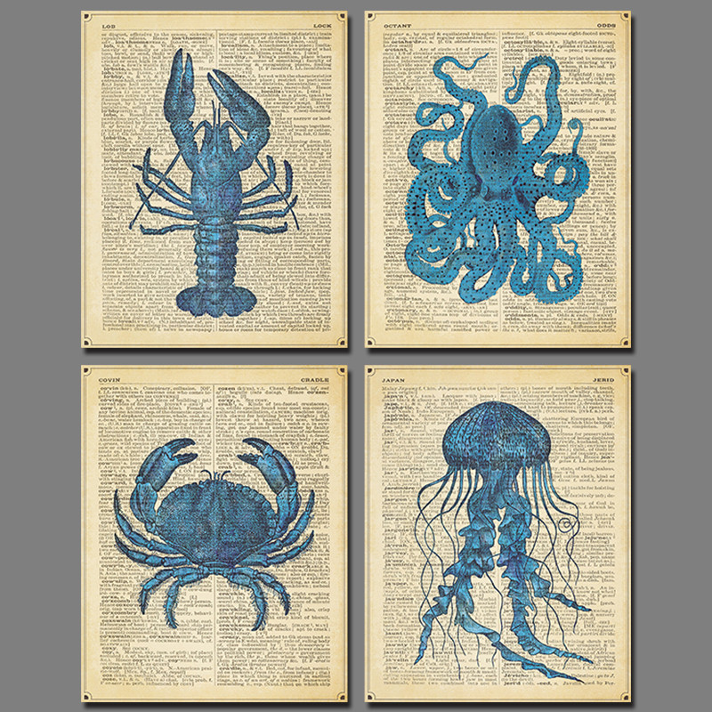 Blue animal newspaper crab picture decoration lobster for Newspaper canvas art