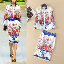 and the United States women's spring/summer 2017 Lapel long sleeve printed retro shirt + split package hip skirt suits