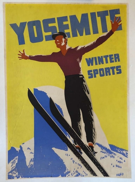 Yosemite Winter Skiing Vintage Retro Kraft Canvas Paintings Poster ...