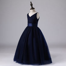 IYEAL Kids Girl Wedding Dress Children Brand Clothing Navy Blue Girl Dresses Kids Long Evening Party Gown Designs For Teenager