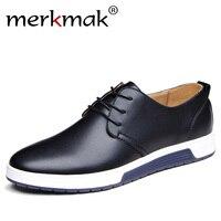 Merkmak/Элитный бренд Мужская обувь Повседневное кожаные модные Мода цвет: черный, синий коричневый плоский Обувь для Для мужчин Прямая достав...