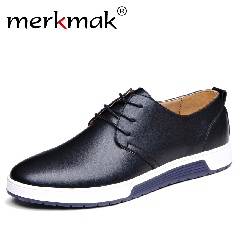 Merkmak De Luxe Marque Hommes Chaussures En Cuir Décontractée Mode À La Mode Noir Bleu Brun Plat Chaussures pour Hommes Drop Shipping